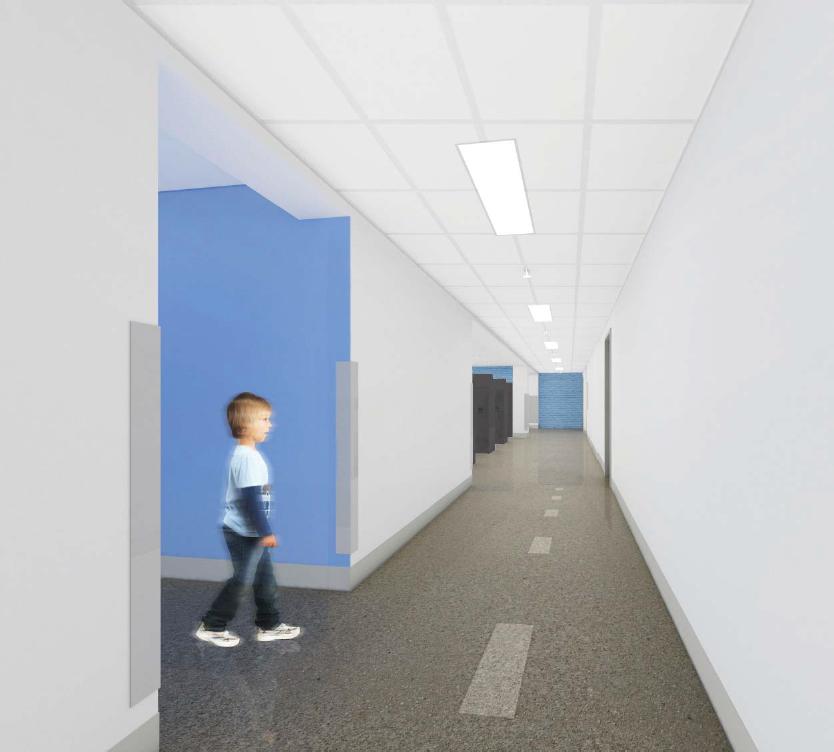 Vue dans le corridor principal du rez-de-chaussée